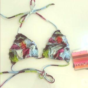 Triangle ruffle seam bikini top by Maya Swimwear